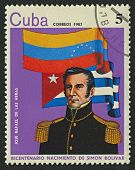 CUBA - CIRCA 1983: A stamp printed in Cuba shows image of the Jose Rafael De Las Heras (1790-1822),
