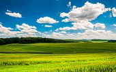 picture of southern  - Beautiful summer clouds over fields and rolling hills in Southern York County Pennsylvania - JPG