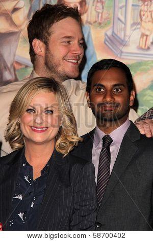 Amy Poehler and Chris Pratt, Aziz Ansari at the