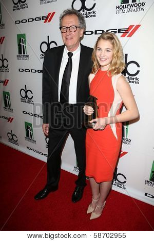 Geoffrey Rush and Sophie Nelisse at the 17th Annual Hollywood Film Awards Backstage, Beverly Hilton Hotel, Beverly Hills, CA 10-21-13
