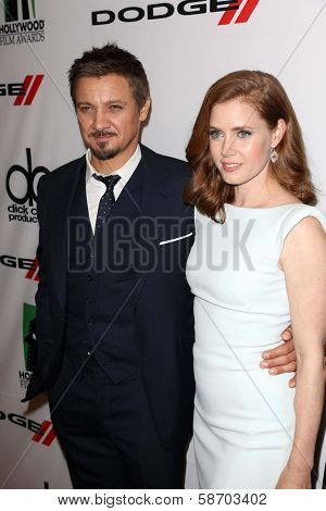 Jeremy Renner and Amy Adams at the 17th Annual Hollywood Film Awards Backstage, Beverly Hilton Hotel, Beverly Hills, CA 10-21-13