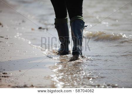 Walking in the waters edge