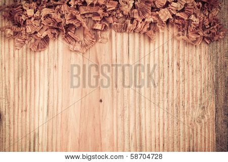 Wooden Board With Woodchips
