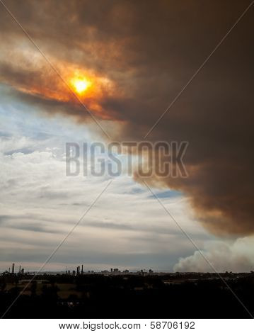 Bushfire Smoke And Sun Over Parramatta