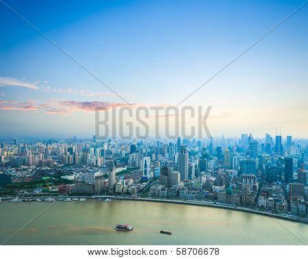 Beautiful Shanghai With Sunset Glow