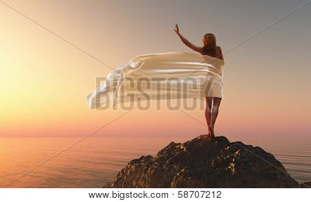 woman with a white tissue on the morning beach