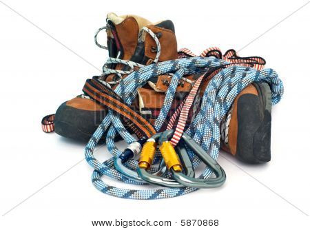 Climbing And Hiking Gear - Carabiners, Ropes And Boots