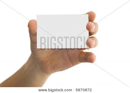 Empty Business Card In A Men's Hand