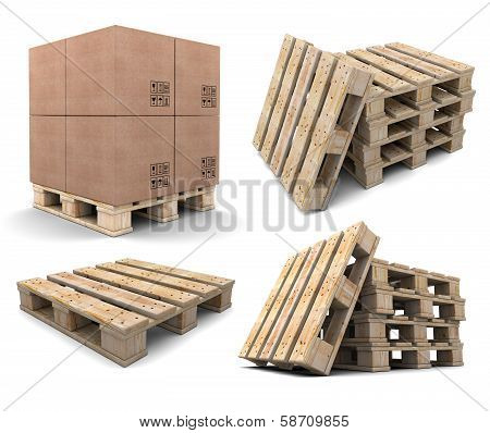 Set Of Wood Pallets.