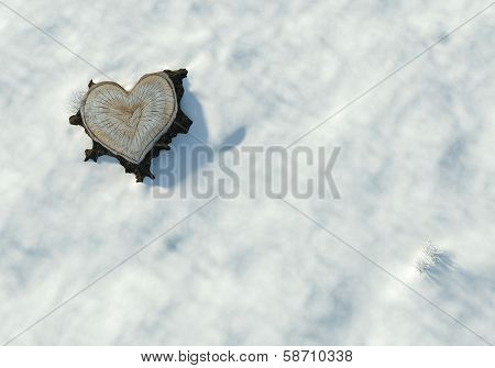 Valentine Heart Shaped Trunk Isolated On Snow, Copy Space