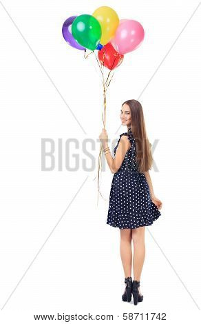 Woman With Colorful Balloons Turning Around