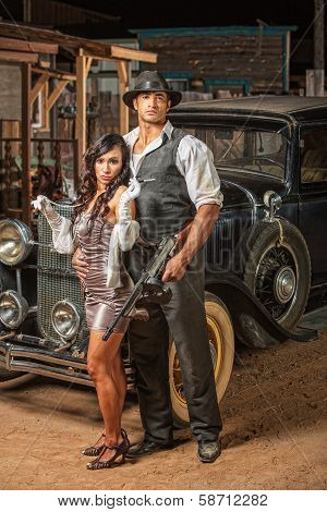 Tough Gangster With Cute Woman