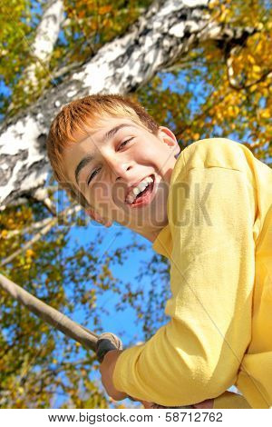 Teenager In Autumn Park