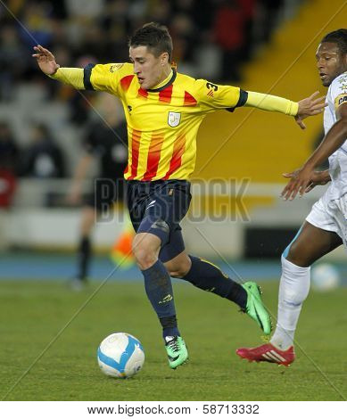 BARCELONA - DEC, 30: Catalan player Bojan Krkic in action during the friendly match between Catalonia and Cape Verde at Olympic Stadium on December 30, 2013 in Barcelona, Spain