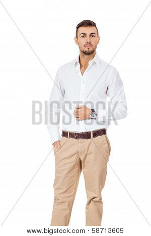 Confident Young Man With His Hand In His Pocket