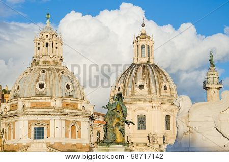 Cupolas at the Piazza Venezia in Rome