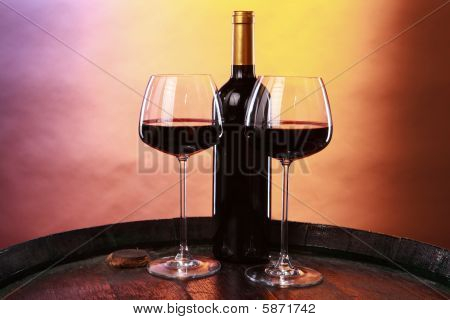 Red wine on a barrel top