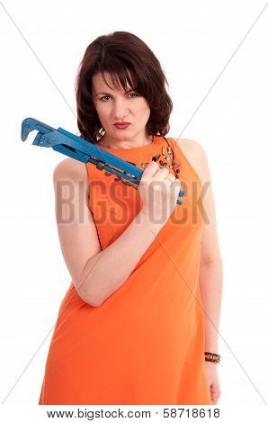 Woman With Blue Wrench