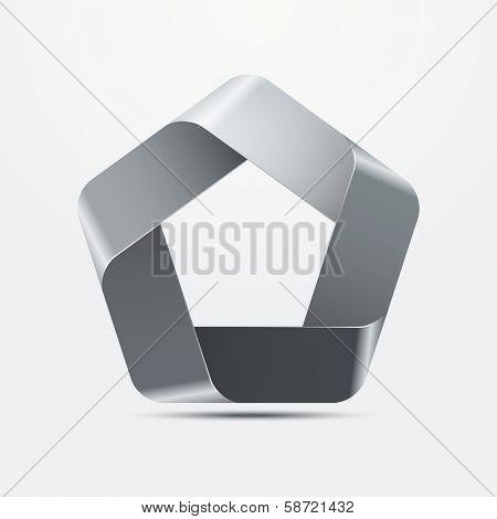 Three-dimensional Pentagon Infinite Ribbon Vector Element, metal surfaces