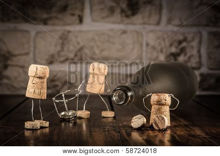 Wine Cork Figures, Concept New Beginning