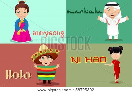 People From Different Cultures Saying Hello