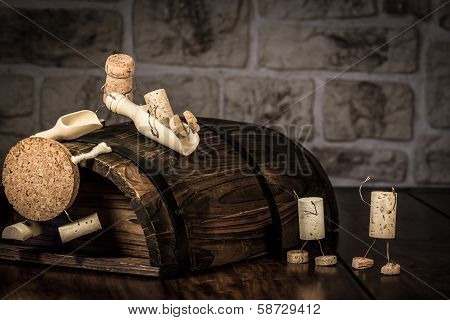 Wine Cork Figures, Concept Children On A Sliding Board
