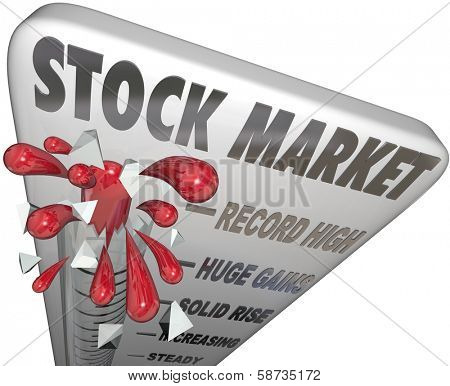 Stock Market Thermometer Rising Investments Growing Wealth