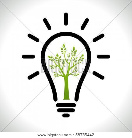 Modern infographic template. Light bulb with Green tree icon inside. Business Eco ��¡oncept Idea