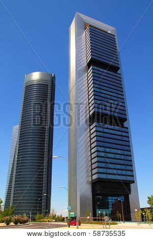 MADRID, SPAIN - JULY 23, 2010: CTBA skyscrapers towers Torre Bankia by Norman Foster and Torre PwC PricewaterhouseCoopers both in Madrid, July 23, 2010.