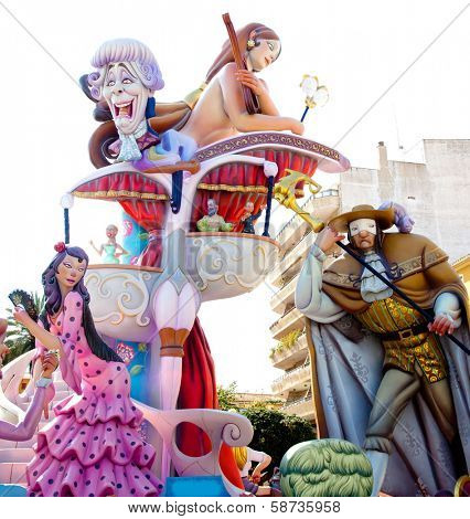 DENIA, ALICANTE, SPAIN - MARCH 18, 2012: Fallas is a popular fest with humor figures on streets that will burn in March  night in Valencia and also Denia in Valencia Province, Spain, March 2012.