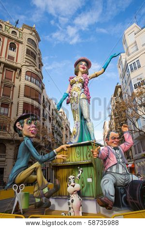 VALENCIA, SPAIN - MARCH 2013: Fallas of Valencia is a popular fest with humor figures on streets that will burn in March 19 night, Valencia, Spain March 2013