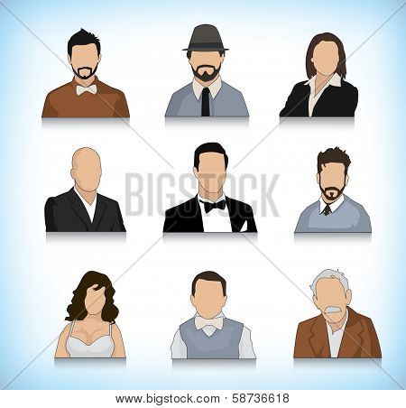 Collection of different type of persons portrait illustrations