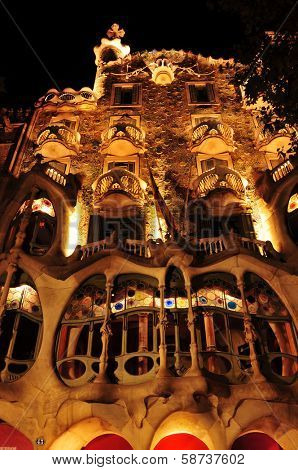 BARCELONA, SPAIN - SEPTEMBER 10: Casa Batllo at night on September 10, 2012 in Barcelona, Spain. The famous building was designed by Antoni Gaudi