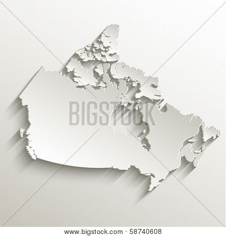 Canada map card paper 3D natural raster blank