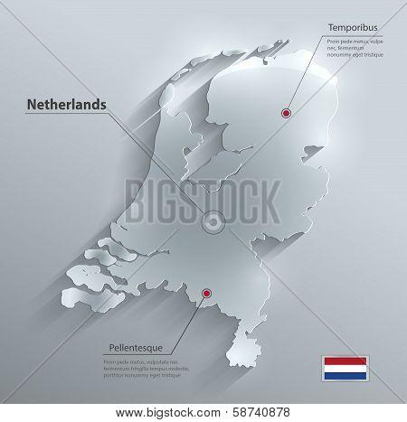Netherlands Holland map flag glass water card paper 3D vector