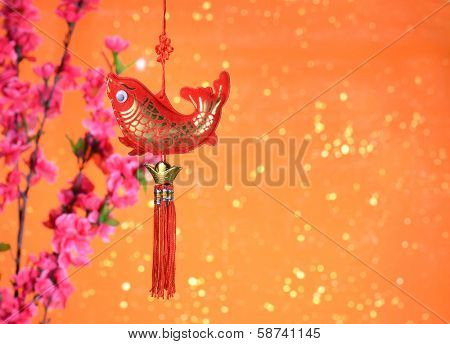 Chinese new year ornament--Tradition al fabric fish symbolizes prosperity and good luck