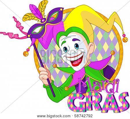 Cartoon design of Mardi Gras Jester holding a mask