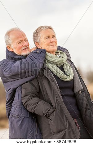 Happy Senior Couple Elderly People Together Outdoor