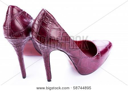 Red Stylish Leather High Heels Isolated On White