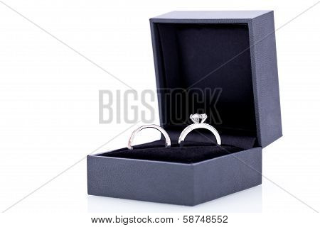 Jewelry Box With Two Elegant Silver Rings