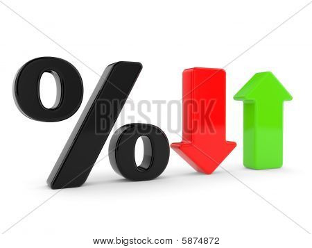 Percent Symbol  And Arrows
