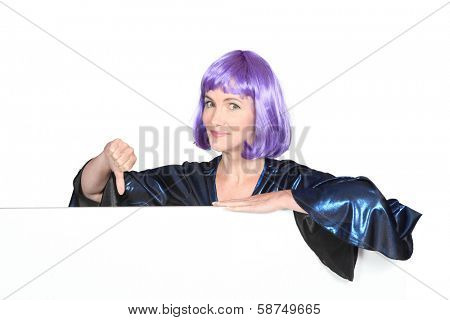 woman making a thumb sign