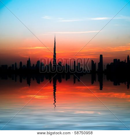 Dubai, United Arab Emirates. Beautiful beach and sea at sunset