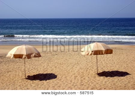 Two Beach Umbrellas