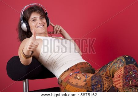 Woman Listen Music At Her House