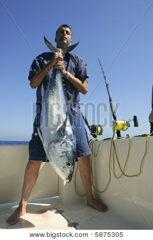 Angler Fihing Big Game Bluefin Tuna On Mediterranean