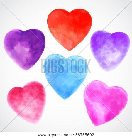 Watercolor beautiful hearts illustration