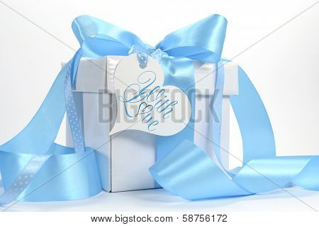 Beautiful Pale Aqua Baby Blue Gift With Love Gift Heart Shape Gift Tag On Blue And White Background