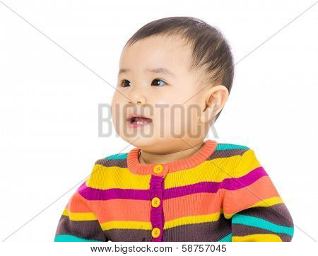 Asian baby looking at the left