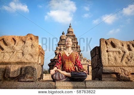 Woman Doing Yoga In India